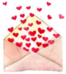Fototapeta watercolor sketch of valentine`s day greeting letter on white ba obraz