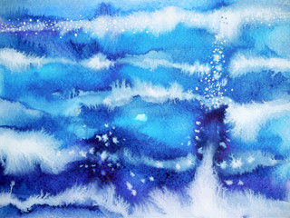 blue wave minimal watercolor painting hand drawn japanese style