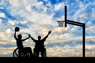 Disabled paralympians play in basketball