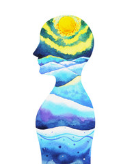 human head, chakra power, inspiration abstract thought, world, universe inside your mind mental