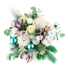 bouquet of fresh flowers in the winter style, christmas, isolate