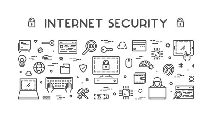 Line web concept for internet security