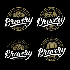 Set of Brewery hand written lettering logo, label, badge template.