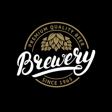 Brewery hand written lettering logo, label, badge template with hop for beer house, bar, pub, brewing company, tavern, wine whiskey market.