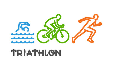 Vector line logo triathlon. Swimming, cycling and running.