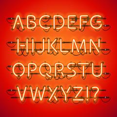 Glowing Neon Red Alphabet