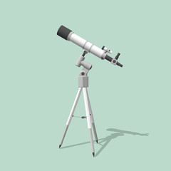 Telescope. Isolated on green. 3d Vector illustration.Side view.