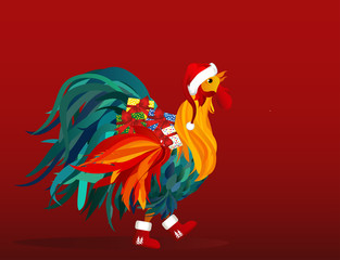 Rooster in costume of Santa Claus brings gifts on Christmas. Vector. Colorful rainbow.