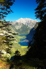 View of the deep valley with lakes of Obersee and Königsee, Bertechsgaden National Park, Germany