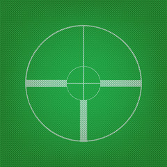 Sight sign illustration. white icon on the green knitwear or woo