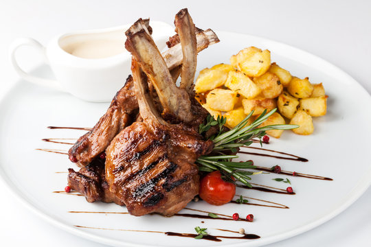 lamb chop meal with potato