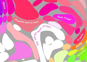 Colored bubble background with inspirational quotes about friendship