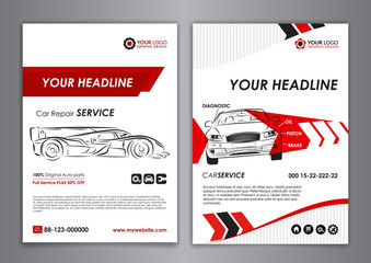 Auto repair Brochure templates, mockup flyer, abstract arrow modern backgrounds, automobile magazine cover. Vector illustration.