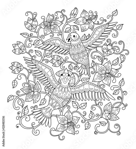 """Hand drawn decorative outline bird in the bush flowers"