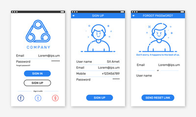 Vector Illustration of onboarding app screens. Material Design UX, UI GUI screen layout with login screens including account Sign In, Sign Up, Forget password for mobile apps and responsive Website.