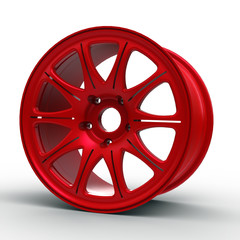 Red steel disks for a car 3D illustration
