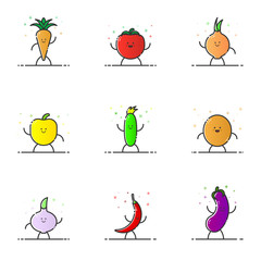 Vector illustration of funny vegetable characters cartoon set in line style. Linear cute icons with face smile. Flat design diet nutrition for web and mobile app Outline vegan expression.