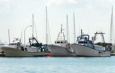 Three fishing vessels in the port.