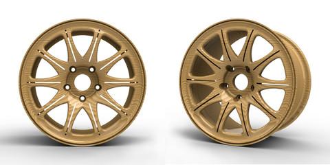 Steel disks for a car 3D illustration
