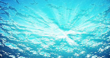 3d rendering underwater sea, ocean surface with light rays, high resolution