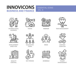 Business, finance modern thin line design icons and pictograms