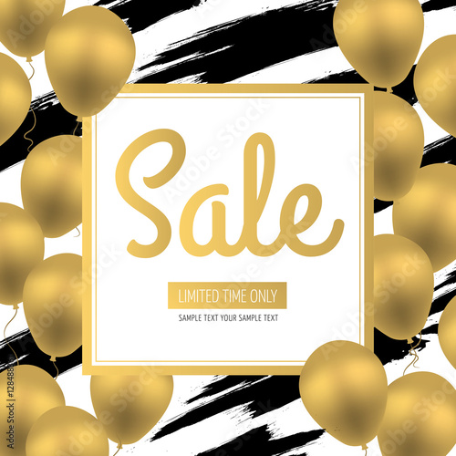 Quot Sale Banner Golden Luxury Balloons On White Background