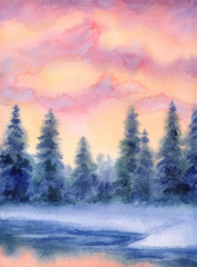 Watercolor landscape. Winter forest