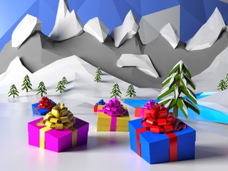 Low poly winter landscape with Christmas gift present box in snow. Polygonal image, mountain, sky, lake. Christmas or new year wallpaper. 3d illustration