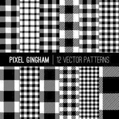 Black and White Gingham Patterns and Buffalo Check Plaid Patterns. Modern Pixel Gingham Patterns of Different Styles. Vector Tile Swatches made with Global Colors.