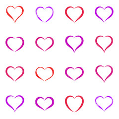 Various hand drawn heart icons