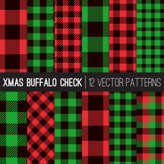 Christmas Lumberjack Buffalo Check Plaid and Pixel Gingham Patterns in Red, Green and Black. Trendy Hipster Style Xmas Textures. Vector Tile Swatches made with Global Colors.