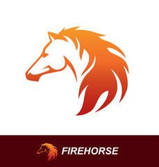 Horse head with a mane looking like a fire flame