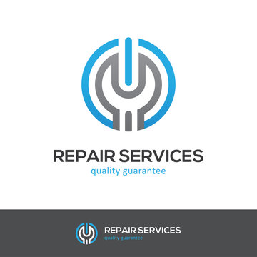 Repair services logo with wrench and power button