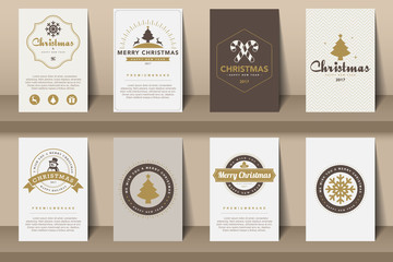 Set of   Merry Christmas and Happy New Year  brochures in vintag