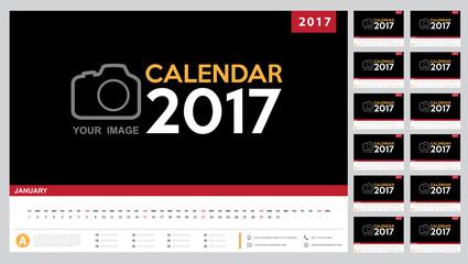 Calendar 2017 template design. Week starts from Sunday.