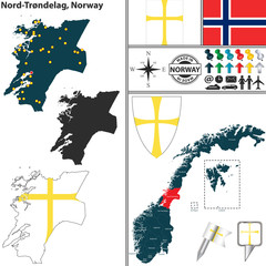 Map of Nord Trondelag, Norway
