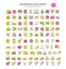 Set of shopping and delivery icons thin line color style isolate