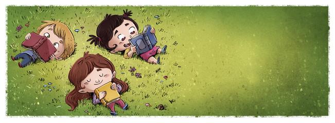 niños leyendo en el campo