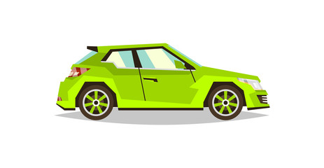 Green car hatchback. Side view. Transport for travel. Gas engine. Alloy wheels