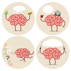 Brain Cartoon different actions. Choice, scientist, running, banner. Vector isolated set of images