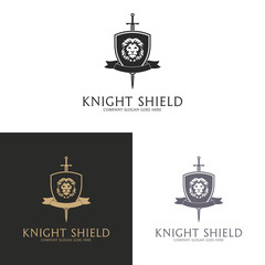 Knight shield. Lion coat of arms logo