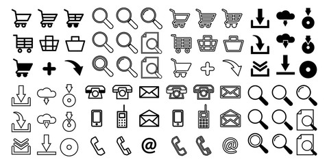 Set of vector icons shopping baskets and carts. Flat style. For use in a web store, and desktop and mobile applications.