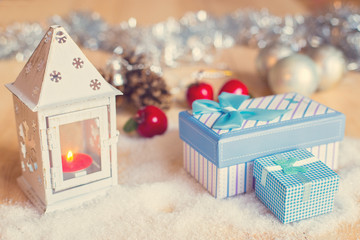 Gifts and beautiful Christmas decorations