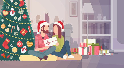 Couple Hold Present Decorated Gift New Year Merry Christmas Celebration Home Interior Pine Tree Flat Vector Illustration