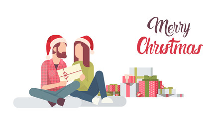 Couple Hold Present Decorated Gift New Year Merry Christmas Celebration Flat Vector Illustration