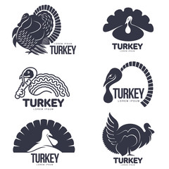 Set of turkey stylized graphic logo templates, vector illustration on white background. Various black and white turkey heads and full bodies for business, farm, poultry logo design
