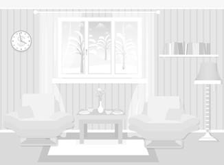 Living room interior including furniture, winter landscape in window.