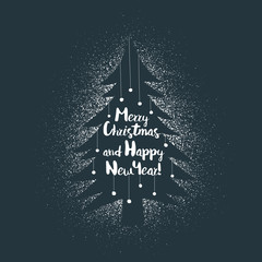 Merry Christmas and Happy New Year greeting card, poster, logo with lettering on stencil xmas tree on spray background. Vector layered illustration.