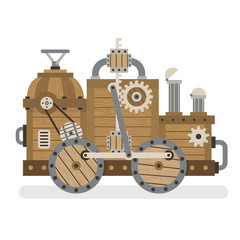 Fantastic strange wooden retro machine with mechanisms, gears, pipes, wheels. Layered vector illustration - easy to edit.