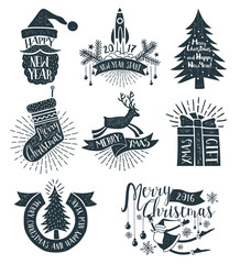 Merry Christmas monochrome retro logos, emblems and lettering with New Year symbols. Vector illustration. Text and Stamp effect on separate layers.